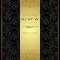 Carte d'invitation d'ornement noir et or vecteur