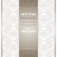 Carte d'invitation d'ornement beige clair vecteur