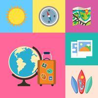Ensemble d'icônes de vacances et de voyage