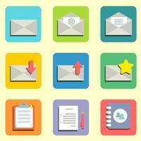 icônes plates de courrier vecteur