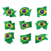 Ensemble de drapeaux du Brésil Illustration vectorielle vecteur