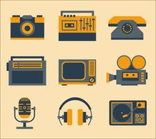 icônes médiatiques rétro vecteur