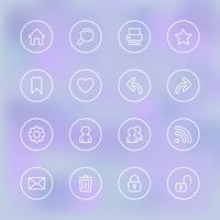 Ensemble d'icônes pour l'interface utilisateur de l'application mobile, transparent clair