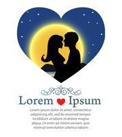 Couple romantique s'embrassant dans la nuit