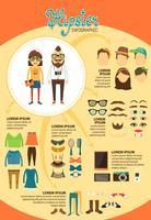 Infographie hipster avec des éléments de design de mode