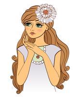 Belle jolie fille aux cheveux ondulés vecteur