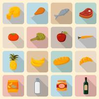 Supermarché alimentaire icônes définies