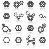 pignons roues et engrenages icônes définies vecteur