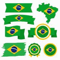 Drapeau brésilien Clip Art Vecteur