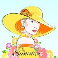 Mode d'été fille au chapeau jaune vecteur