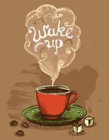 Réveillez-vous une tasse de café vecteur