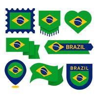 Drapeau brésilien Clipart vecteur