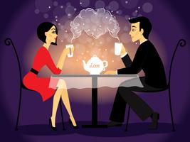 Rencontre couple scène, confession d'amour vecteur