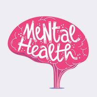 Santé mentale lettrage vecteur
