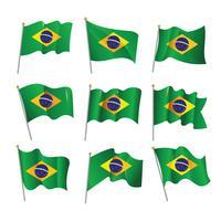 Drapeau Brésilien 3D ondulé vecteur