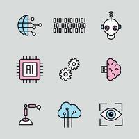 Icônes d'intelligence artificielle décrites vecteur