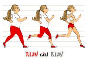 Running woman progrès de perte de poids vecteur