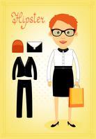 Éléments de caractère hipster pour femme d'affaires vecteur