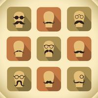 Ensemble d'icônes de moustaches hipster et lunettes vecteur
