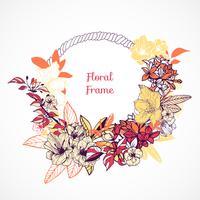 Modèle de cadre floral vecteur