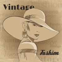 Affiche rétro de la jeune femme fashion vecteur