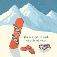 Snowboard hiver paysage de montagne vecteur