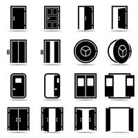Jeu d'icônes de portes ouvertes et fermées vecteur