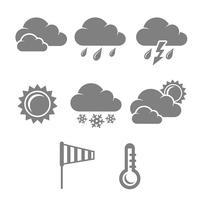Jeu de symboles météo, contraste plat vecteur