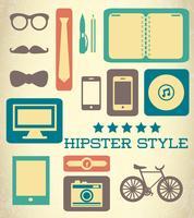 Ensemble hipster plat d'éléments web vecteur