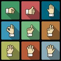 Éléments de conception d'interface utilisateur gestes de la main, ombres au carré vecteur