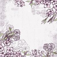 Cadre décoratif avec cerisier en fleurs ou sakura vecteur