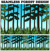 Design de fond sans couture avec forêt vecteur