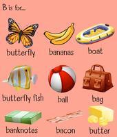 Mots différents pour l'alphabet B vecteur