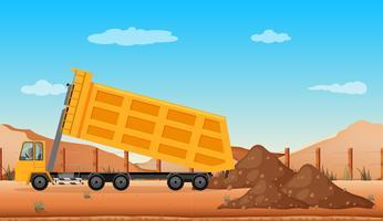 Dumping truck sur le chantier de construction vecteur