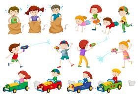 Enfants faisant différentes activités