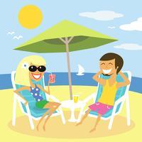 vacances d'été à la plage vecteur