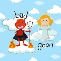 Mot opposé pour le bien et le mal avec l'ange et le diable vecteur
