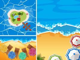Scènes d'océan avec des parapluies sur la plage vecteur