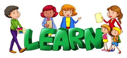 Conception des polices de mots pour apprendre avec les enseignants et les étudiants vecteur