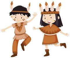 Deux enfants déguisés en indiens vecteur