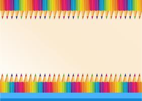 Bordure design avec des crayons de couleur