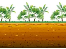 Jardin de palmiers au sol sans couture vecteur