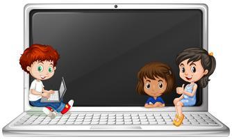 Enfants et ordinateur portable vecteur