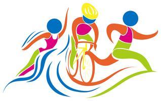 Icône de triathlon en couleurs vecteur