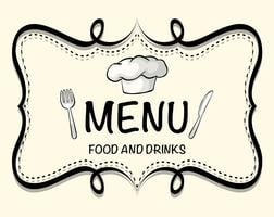 Création de logo du menu du restaurant vecteur