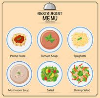 Différents types de plats au menu vecteur
