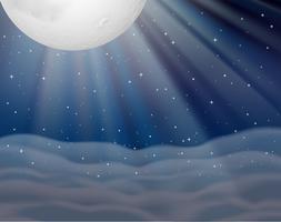 Scène de fond avec la lune dans la nuit noire vecteur