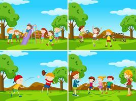 Scènes de terrain de jeu avec des enfants faisant du sport vecteur