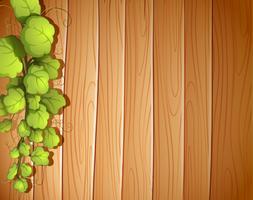 Un mur de bois avec une plante de vigne vecteur