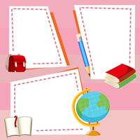 Modèle de bordure avec différents articles de papeterie